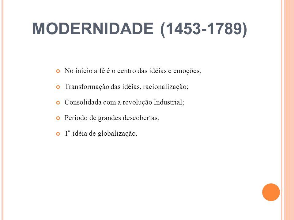 PÓS-MODERNIDADE (1789...) Compreende todo o período contemporâneo até hoje; Também denominado pós- industrial; Pluralidade de idéias; não há certo nem errado; Período de grande transição ; Carência de uma idéia central; Crescente predomínio da razão sobre a fé (iluminismo); Ressurgimento do romantismo.