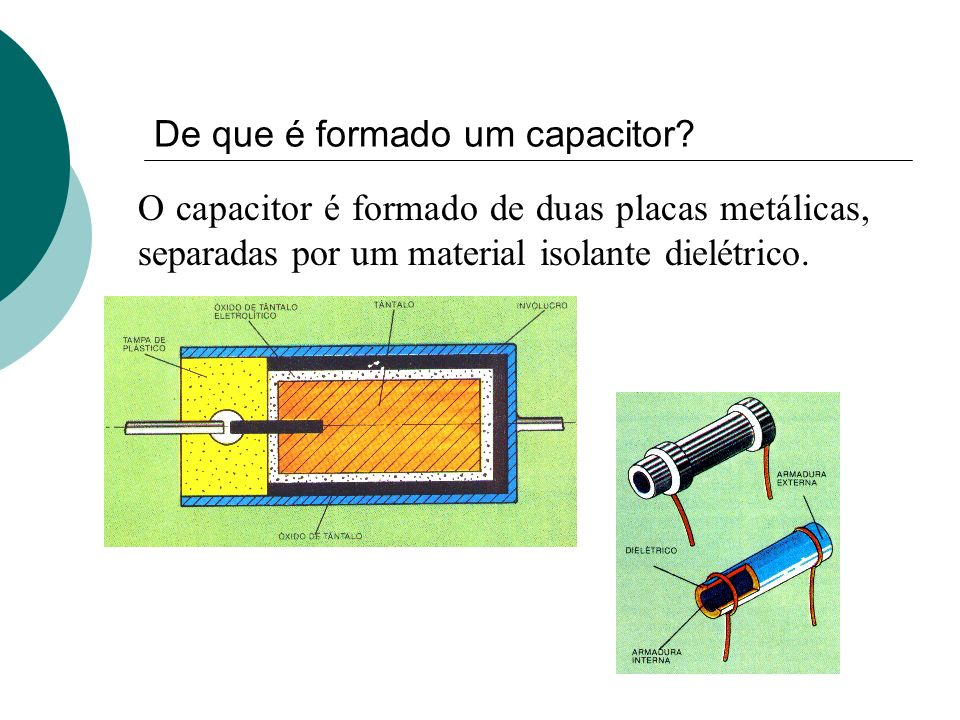 De que é formado um capacitor? O capacitor é formado de duas placas metálicas, separadas por um material isolante dielétrico.