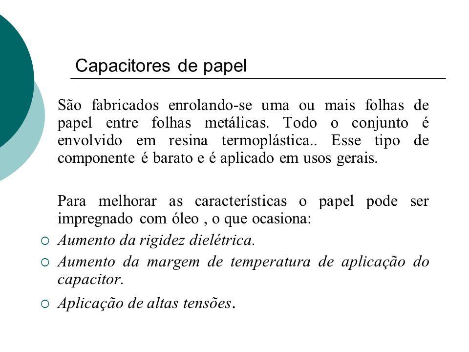 Capacitores de papel São fabricados enrolando-se uma ou mais folhas de papel entre folhas metálicas. Todo o conjunto é envolvido em resina termoplásti