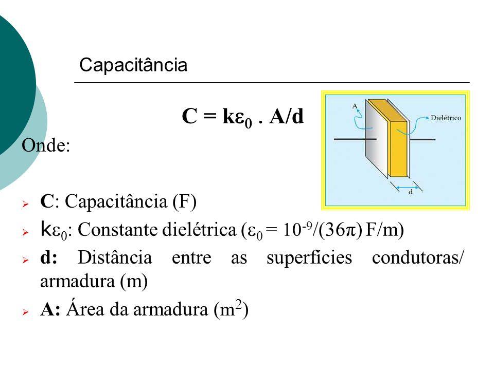 Capacitância C = k A/d Onde: C: Capacitância (F) k Constante dielétrica ( = 10 -9 /(36π) F/m) d: Distância entre as superfícies condutoras/ armadura (