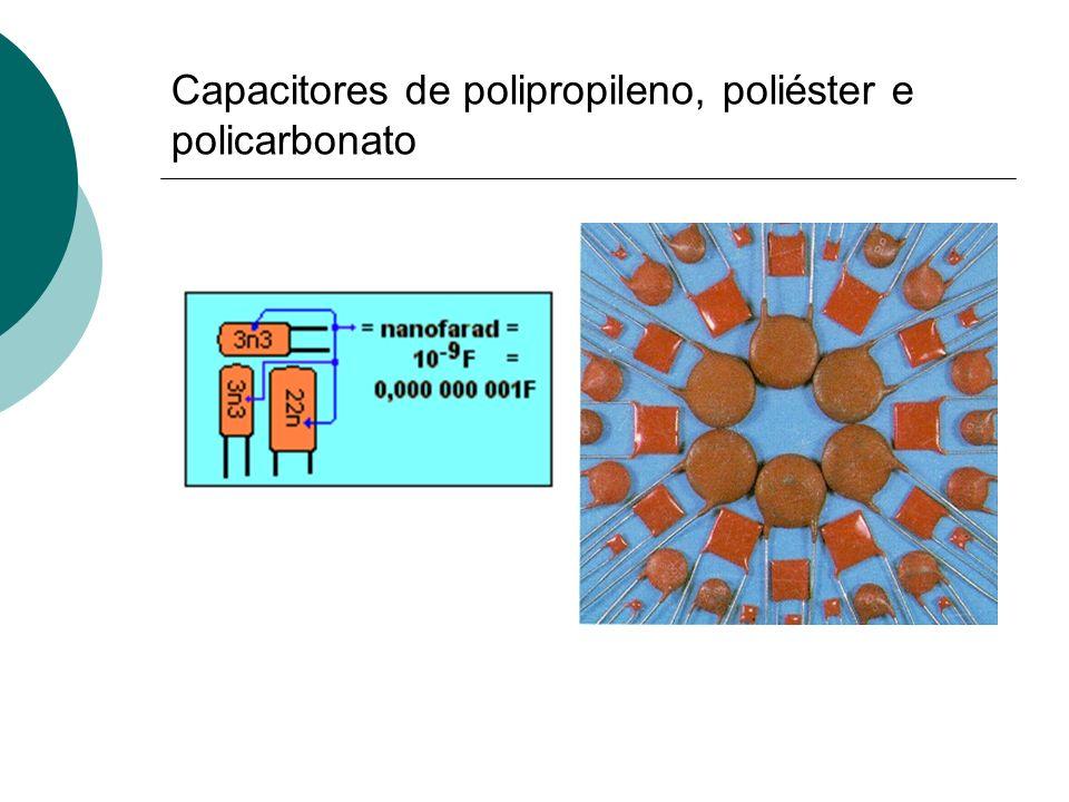 Capacitores de polipropileno, poliéster e policarbonato