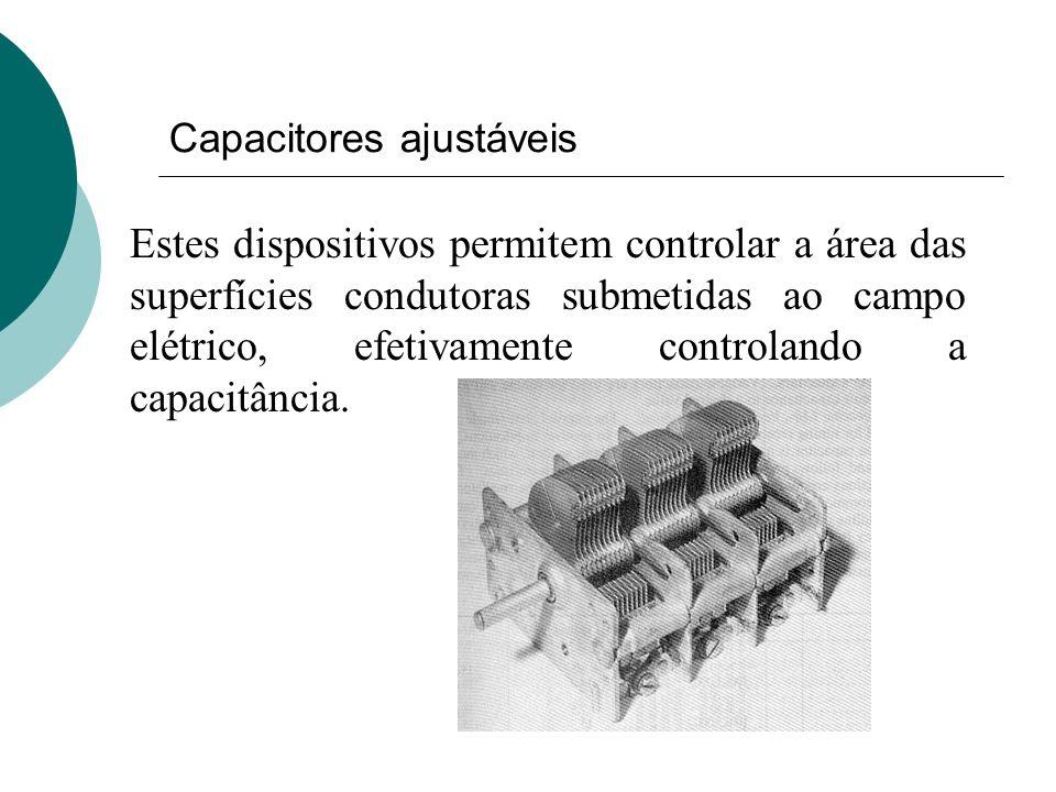 Capacitores ajustáveis Estes dispositivos permitem controlar a área das superfícies condutoras submetidas ao campo elétrico, efetivamente controlando