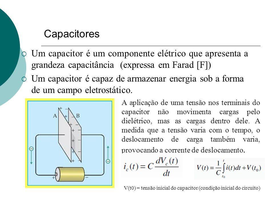 Capacitores Um capacitor é um componente elétrico que apresenta a grandeza capacitância (expressa em Farad [F]) Um capacitor é capaz de armazenar ener