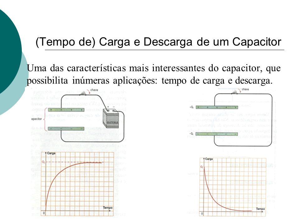 (Tempo de) Carga e Descarga de um Capacitor Uma das características mais interessantes do capacitor, que possibilita inúmeras aplicações: tempo de car