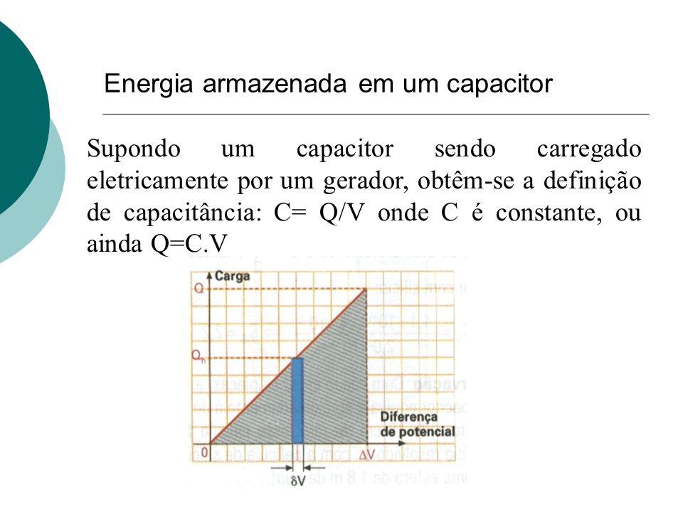 Supondo um capacitor sendo carregado eletricamente por um gerador, obtêm-se a definição de capacitância: C= Q/V onde C é constante, ou ainda Q=C.V Ene