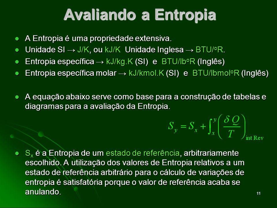 12 Obtendo valores de Entropia Tabelas Termodinâmicas Tabelas A-2 a A-18 relativas aos estados e valores de referência listados a seguir: Tabelas Termodinâmicas Tabelas A-2 a A-18 relativas aos estados e valores de referência listados a seguir: Água Entropia do líquido saturado a 0,01 o C (estado de ref.) é definida como nula (valor de ref.).