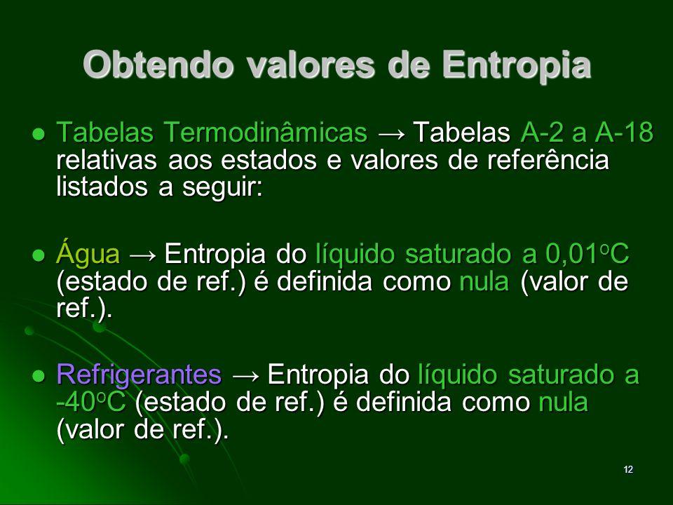 13 Tabelas de Entropia A Entropia específica é tabelada de modo similar às demais propriedades (h, u, v) e os valores de Entropia são listados nas mesmas tabelas.
