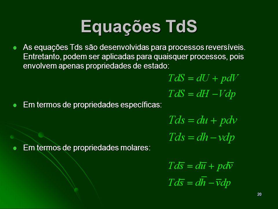 21 Variação de Entropia para um gás Ideal Partindo das equações Tds, teremos: Partindo das equações Tds, teremos: Para gás ideal: Para gás ideal: