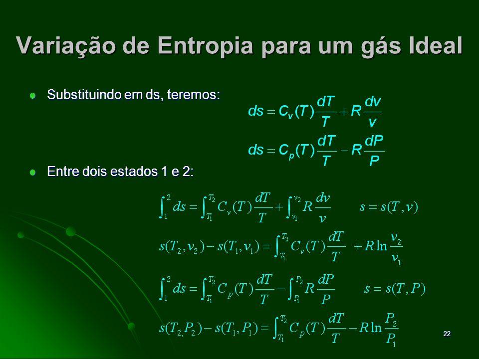 23 Variação de Entropia para um gás Ideal Da mesma forma utilizada para a Energia Interna e para a Entalpia, a avaliação da variação de Entropia para os gases ideais pode ser efetuada através de tabulação dos valores (nas Tabelas Termodinâmicas).