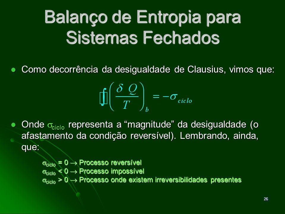 27 Desenvolvimento do Balanço de Entropia O balanço de entropia é uma expressão da 2ª Lei que é particularmente conveniente para a análise termodinâmica.