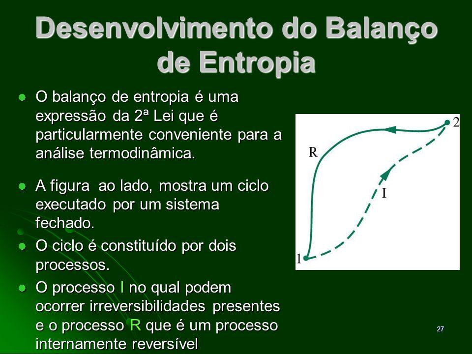 28 Desenvolvimento do Balanço de Entropia Para esse ciclo: Para esse ciclo: O subscrito b da primeira integral serve para indicar que o integrando é avaliado ao longo da fronteira do sistema.