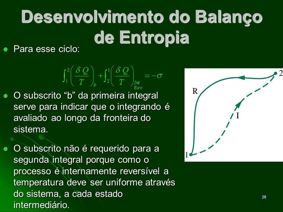 29 Balanço de Entropia O termo refere-se somente ao processo I, pois o processo R é internamente reversível.