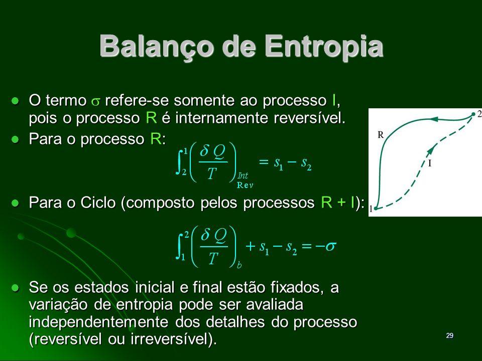 30 Balanço de Entropia Balanço de entropia para sistemas fechados: Balanço de entropia para sistemas fechados: Os dois termos do lado direito da equação dependem explicitamente da natureza do processo e não podem ser determinados somente a partir dos estados inicial e final.