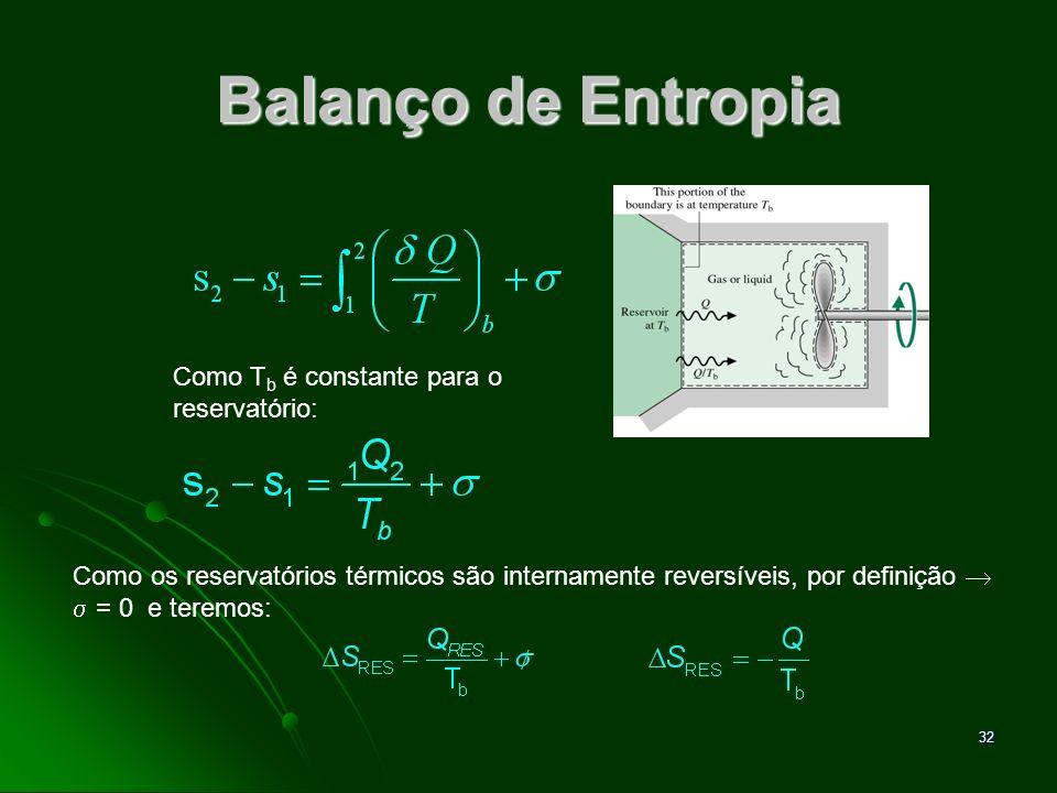 33 Balanço de Entropia O reservatório perde calor e portanto, sua entropia diminui.