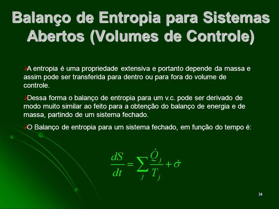 35 Balanço de Entropia para Sistemas Abertos (Volumes de Controle) Para um volume de controle a expressão fica: Esta equação representa a forma geral para o balanço de entropia.