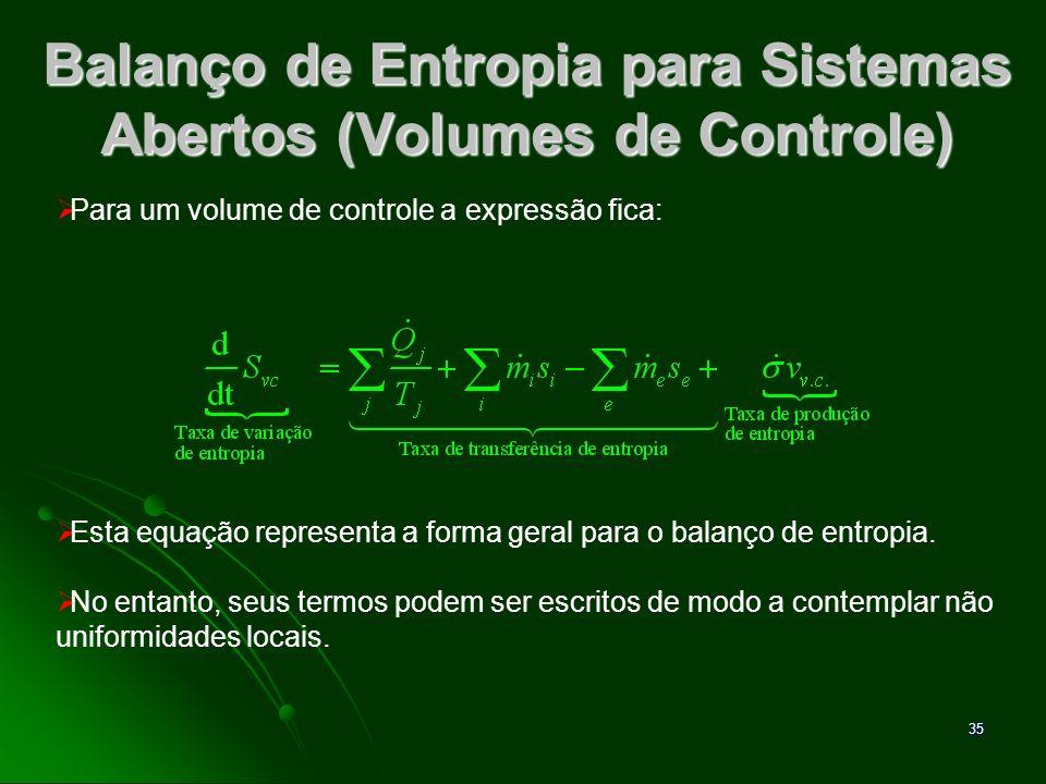 36 Análise de volumes de controle operando em Regime Permanente Balanço de massa: Balanço de energia: Balanço de entropia: