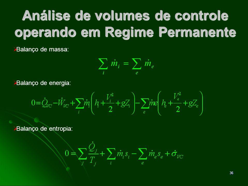 37 Análise de volumes de controle operando em Regime Permanente Essas equações precisam, muitas vezes, ser resolvidas simultaneamente, junto com equações que expressem relações entre as propriedades.