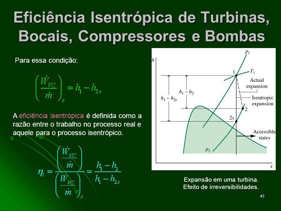 44 Eficiência Isentrópica de Turbinas, Bocais, Compressores e Bombas Os valores de situam-se na faixa 0,7 - 0,9 (70% a 90%).