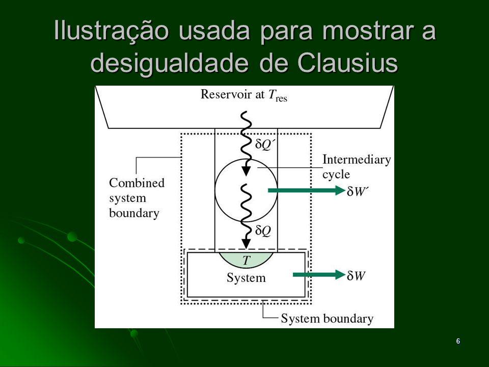 7 A Desigualdade de Clausius Esta desigualdade pode ser escrita na forma de uma igualdade como Esta desigualdade pode ser escrita na forma de uma igualdade como onde σ ciclo representa a intensidade da desigualdade, sendo que: onde σ ciclo representa a intensidade da desigualdade, sendo que: σ ciclo = 0 não há irreversibilidades dentro do sistema σ ciclo = 0 não há irreversibilidades dentro do sistema σ ciclo > 0 irreversibilidades presentes dentro do sistema σ ciclo > 0 irreversibilidades presentes dentro do sistema σ ciclo < 0 impossível.