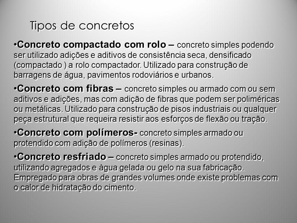 Tipos de concretos Concreto compactado com rolo – concreto simples podendo ser utilizado adições e aditivos de consistência seca, densificado (compact