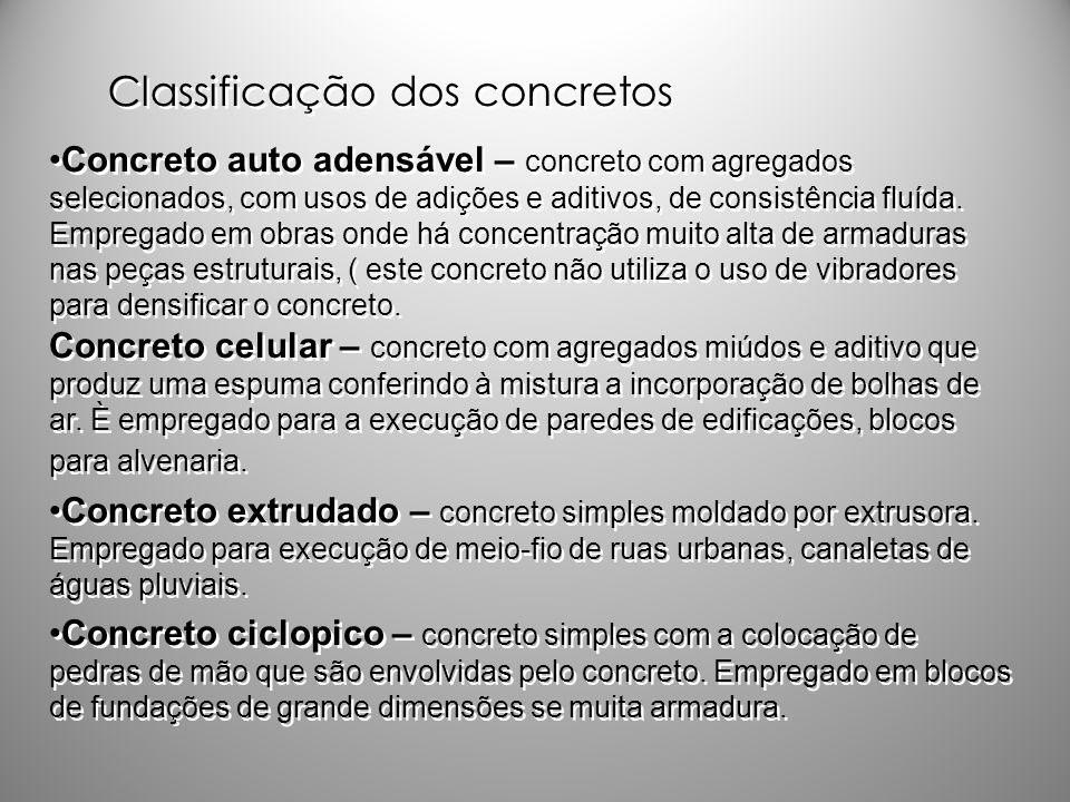 Classificação dos concretos Concreto auto adensável – concreto com agregados selecionados, com usos de adições e aditivos, de consistência fluída. Emp