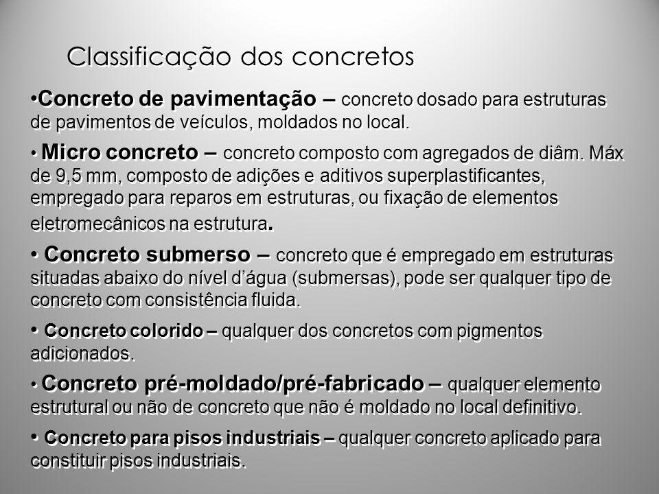 Classificação dos concretos Concreto de pavimentação – concreto dosado para estruturas de pavimentos de veículos, moldados no local. Micro concreto –