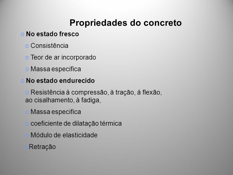 Propriedades do concreto o No estado fresco o Consistência o Teor de ar incorporado o Massa especifica o No estado endurecido o Resistência à compress