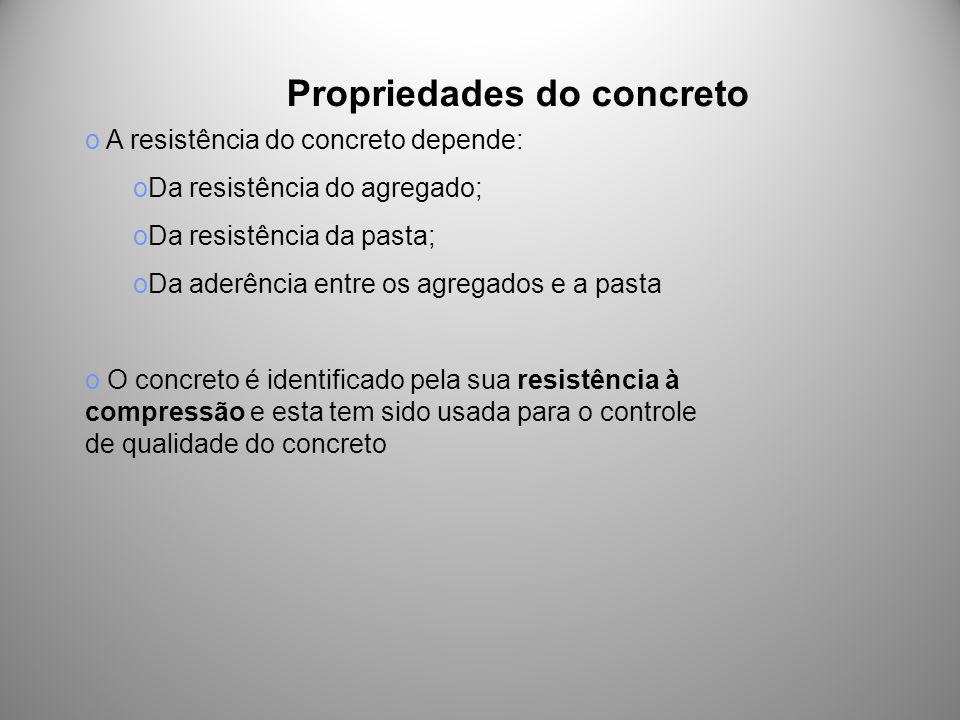 Propriedades do concreto o A resistência do concreto depende: oDa resistência do agregado; oDa resistência da pasta; oDa aderência entre os agregados