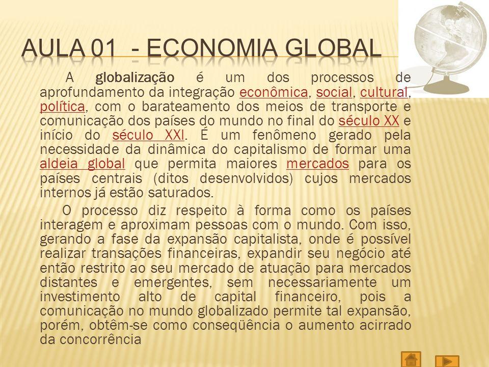 A globalização é um dos processos de aprofundamento da integração econômica, social, cultural, política, com o barateamento dos meios de transporte e comunicação dos países do mundo no final do século XX e início do século XXI.