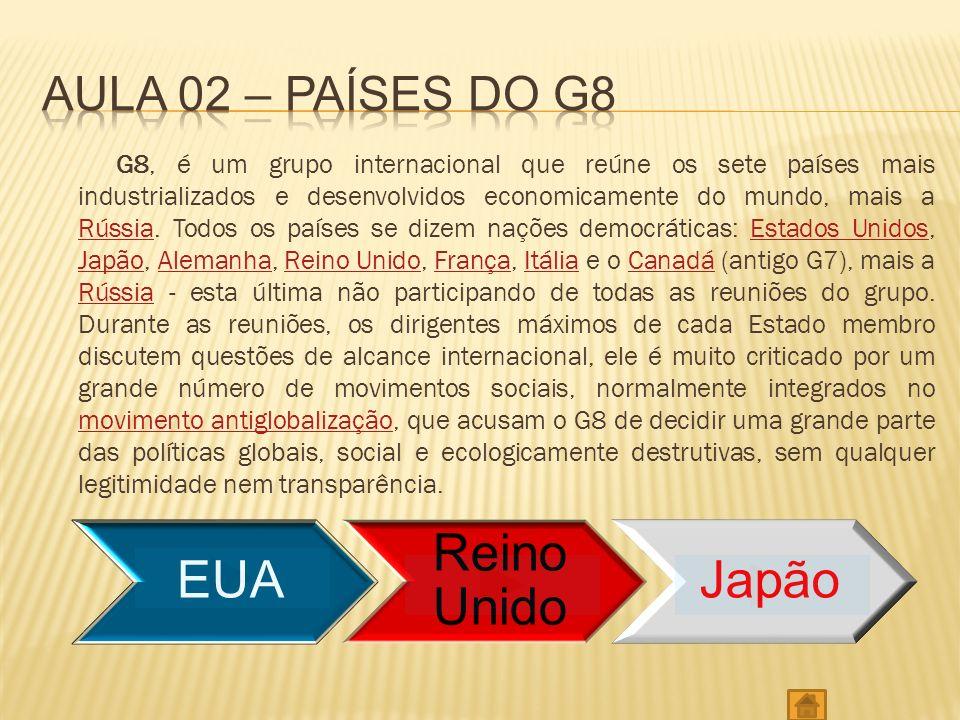 G8, é um grupo internacional que reúne os sete países mais industrializados e desenvolvidos economicamente do mundo, mais a Rússia.