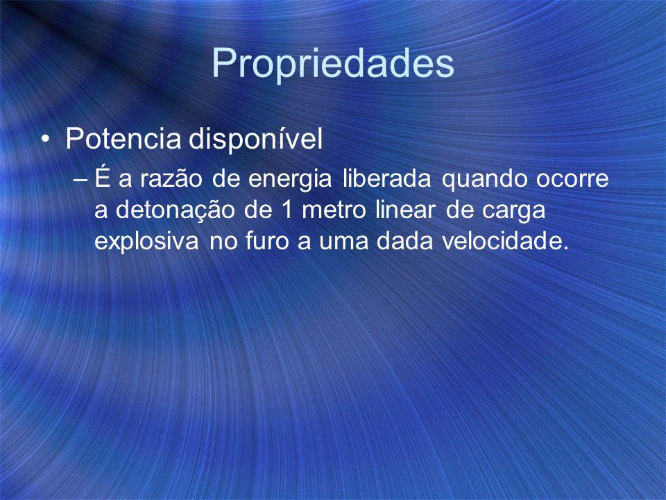 Propriedades Potencia disponível –É a razão de energia liberada quando ocorre a detonação de 1 metro linear de carga explosiva no furo a uma dada velo
