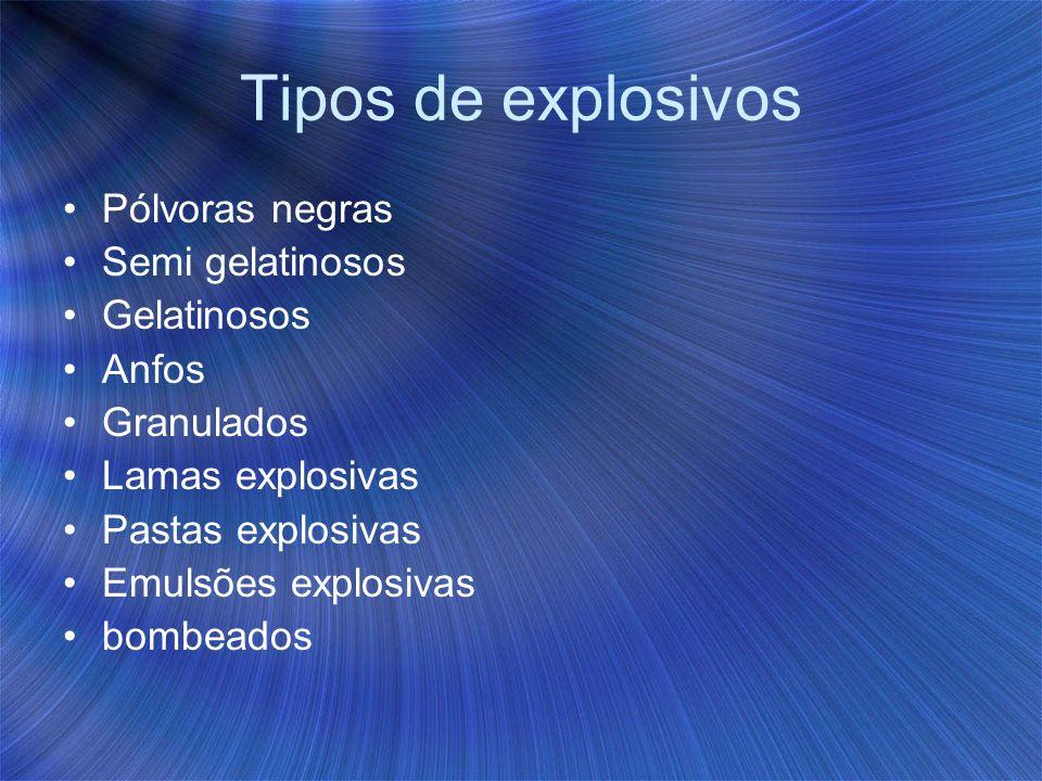 Tipos de explosivos Pólvoras negras Semi gelatinosos Gelatinosos Anfos Granulados Lamas explosivas Pastas explosivas Emulsões explosivas bombeados