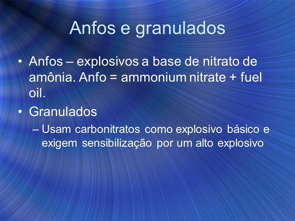Anfos e granulados Anfos – explosivos a base de nitrato de amônia. Anfo = ammonium nitrate + fuel oil. Granulados –Usam carbonitratos como explosivo b