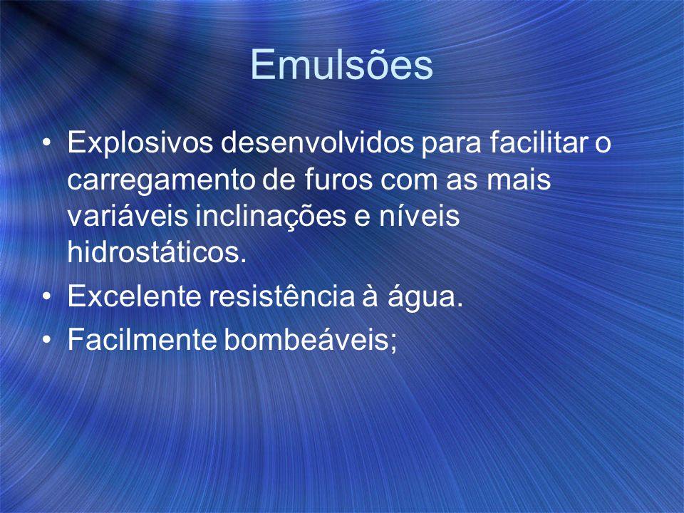 Emulsões Explosivos desenvolvidos para facilitar o carregamento de furos com as mais variáveis inclinações e níveis hidrostáticos. Excelente resistênc