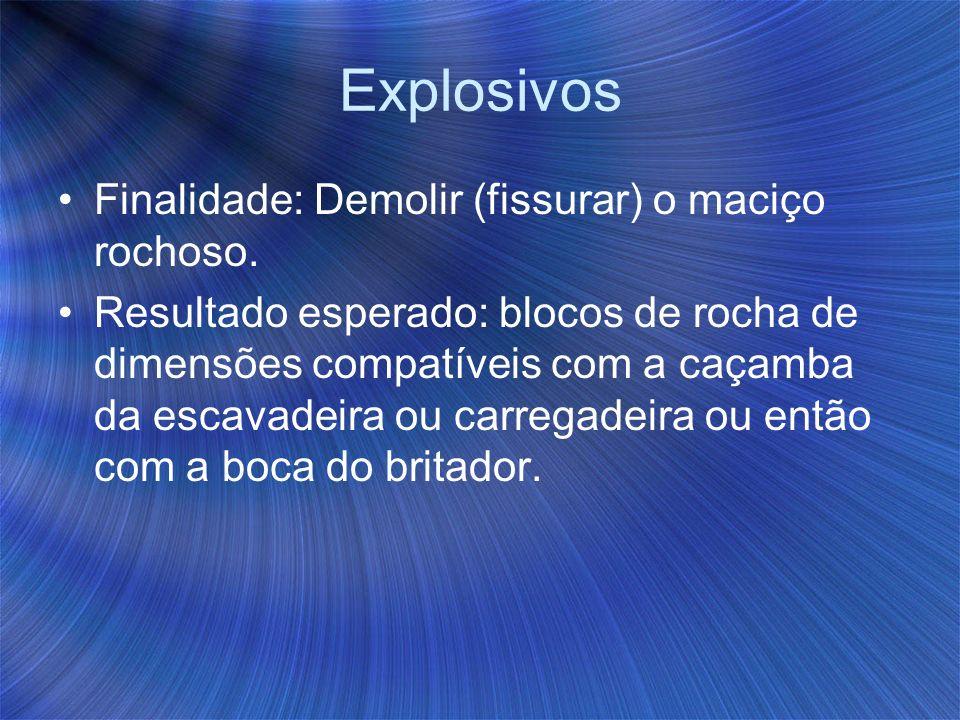 Explosivos Finalidade: Demolir (fissurar) o maciço rochoso. Resultado esperado: blocos de rocha de dimensões compatíveis com a caçamba da escavadeira