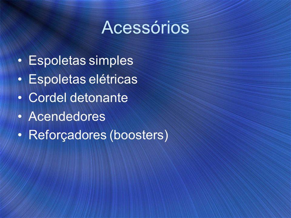 Acessórios Espoletas simples Espoletas elétricas Cordel detonante Acendedores Reforçadores (boosters)