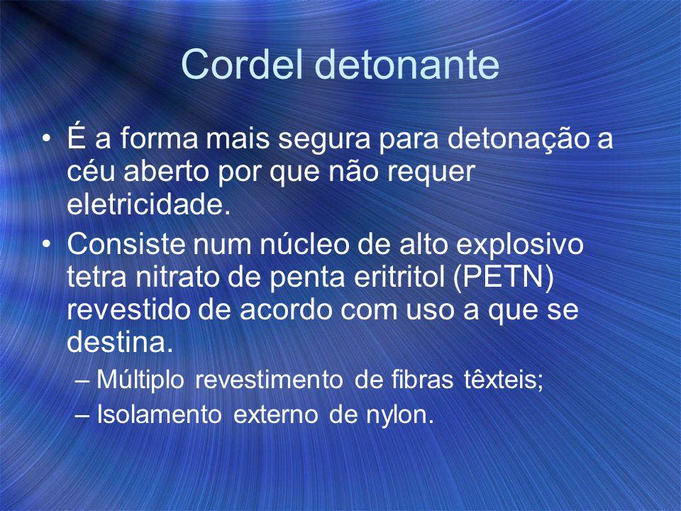 Cordel detonante É a forma mais segura para detonação a céu aberto por que não requer eletricidade. Consiste num núcleo de alto explosivo tetra nitrat