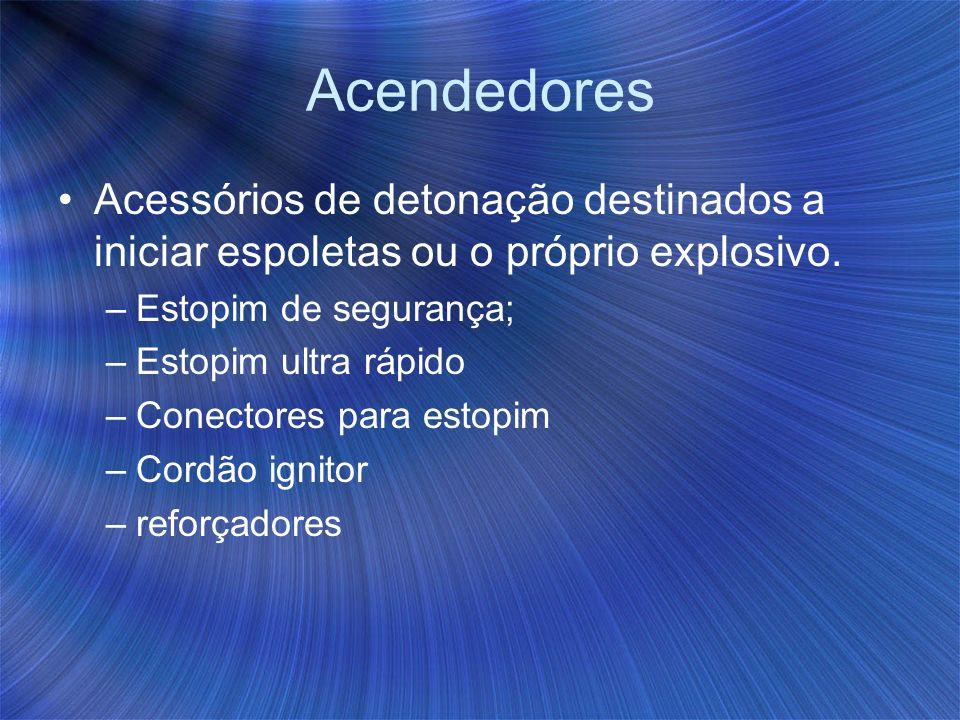 Acendedores Acessórios de detonação destinados a iniciar espoletas ou o próprio explosivo. –Estopim de segurança; –Estopim ultra rápido –Conectores pa