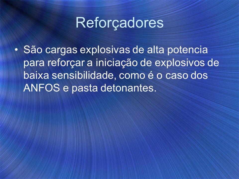 Reforçadores São cargas explosivas de alta potencia para reforçar a iniciação de explosivos de baixa sensibilidade, como é o caso dos ANFOS e pasta de