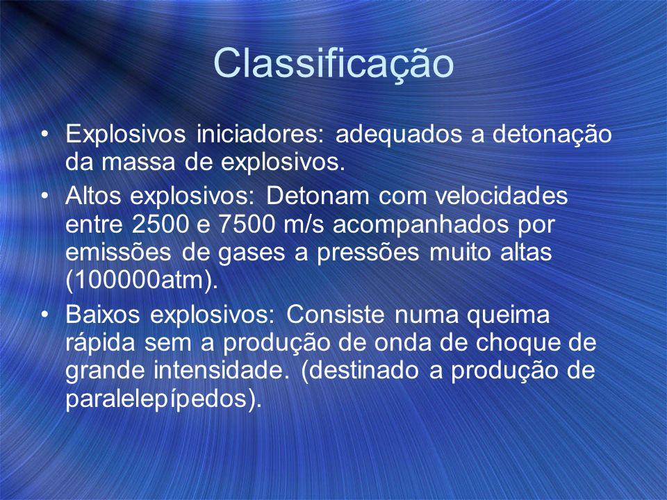 Classificação Explosivos iniciadores: adequados a detonação da massa de explosivos. Altos explosivos: Detonam com velocidades entre 2500 e 7500 m/s ac