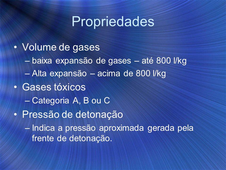 Propriedades Volume de gases –baixa expansão de gases – até 800 l/kg –Alta expansão – acima de 800 l/kg Gases tóxicos –Categoria A, B ou C Pressão de