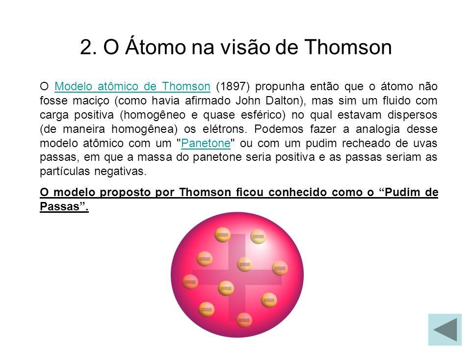 2. O Átomo na visão de Thomson O Modelo atômico de Thomson (1897) propunha então que o átomo não fosse maciço (como havia afirmado John Dalton), mas s
