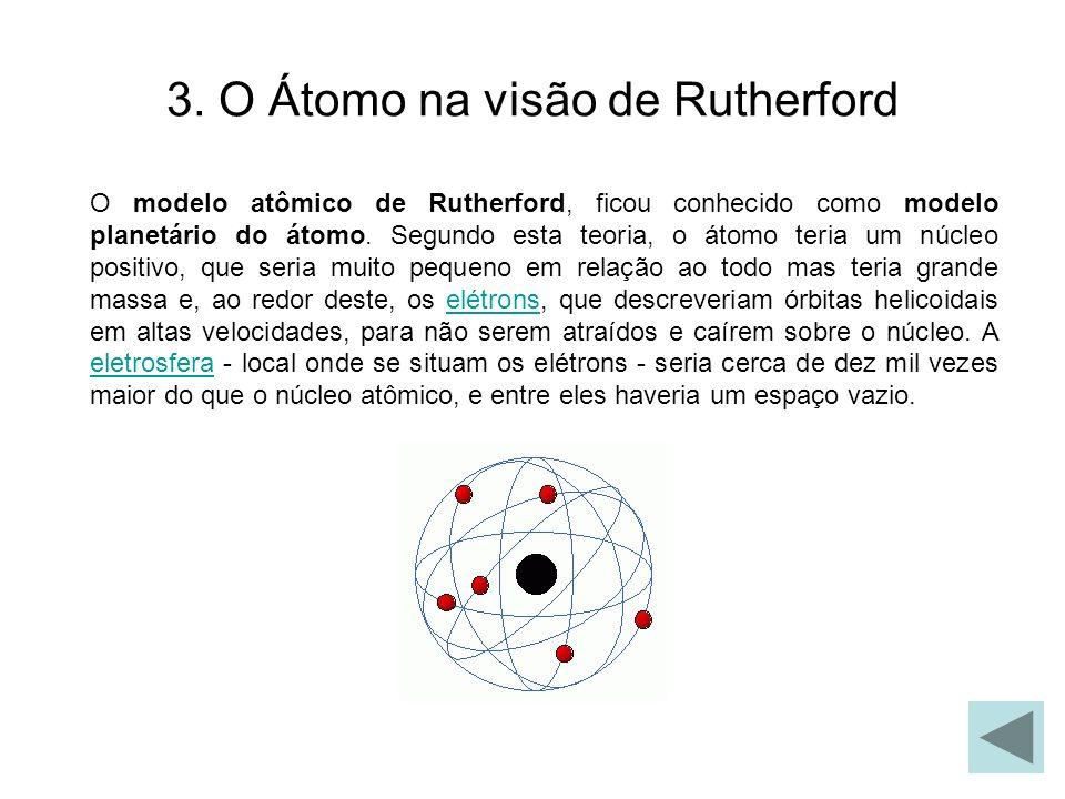 3. O Átomo na visão de Rutherford O modelo atômico de Rutherford, ficou conhecido como modelo planetário do átomo. Segundo esta teoria, o átomo teria