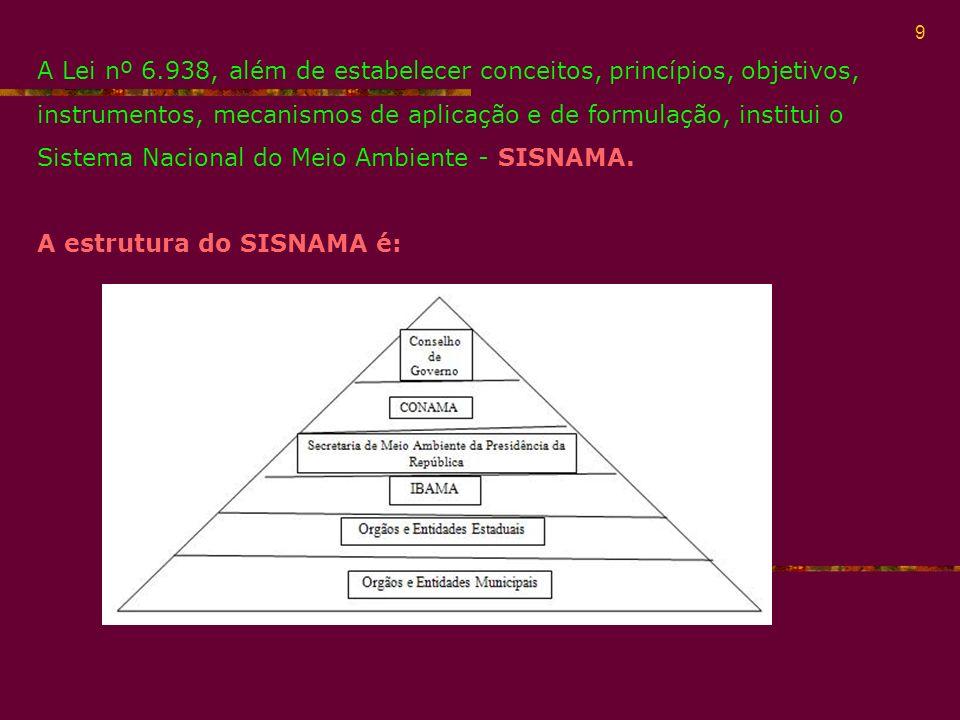 10 O SISNAMA é um sistema que organiza as instituições responsáveis na implementação da PNMA.