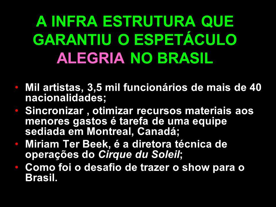 A INFRA ESTRUTURA QUE GARANTIU O ESPETÁCULO ALEGRIA NO BRASIL Mil artistas, 3,5 mil funcionários de mais de 40 nacionalidades; Sincronizar, otimizar r