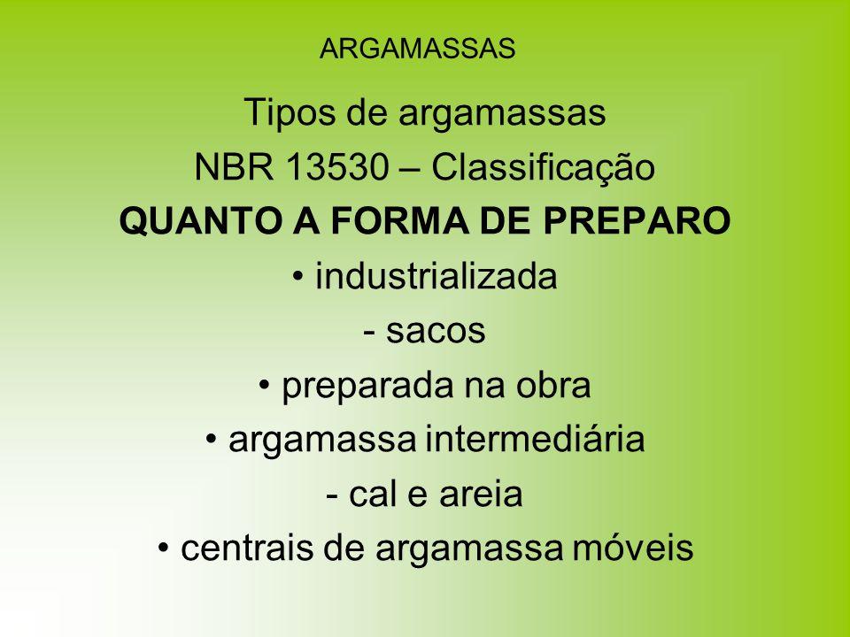 ARGAMASSAS Tipos de argamassas NBR 13530 – Classificação QUANTO A FORMA DE PREPARO industrializada - sacos preparada na obra argamassa intermediária -