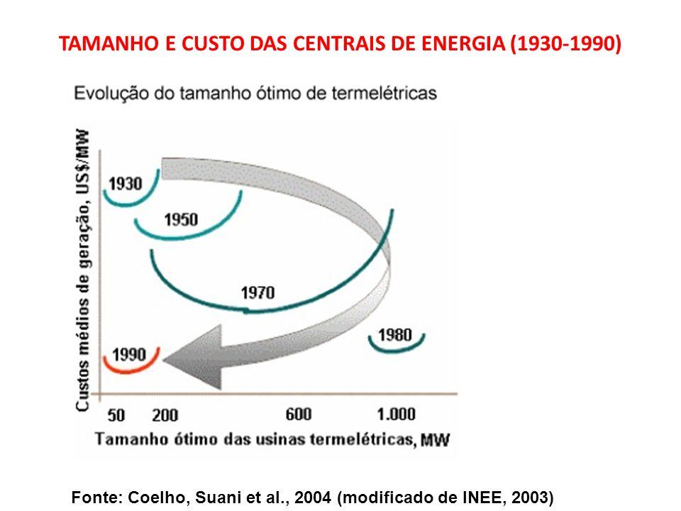 Fonte: Coelho, Suani et al., 2004 (modificado de INEE, 2003) TAMANHO E CUSTO DAS CENTRAIS DE ENERGIA (1930-1990)