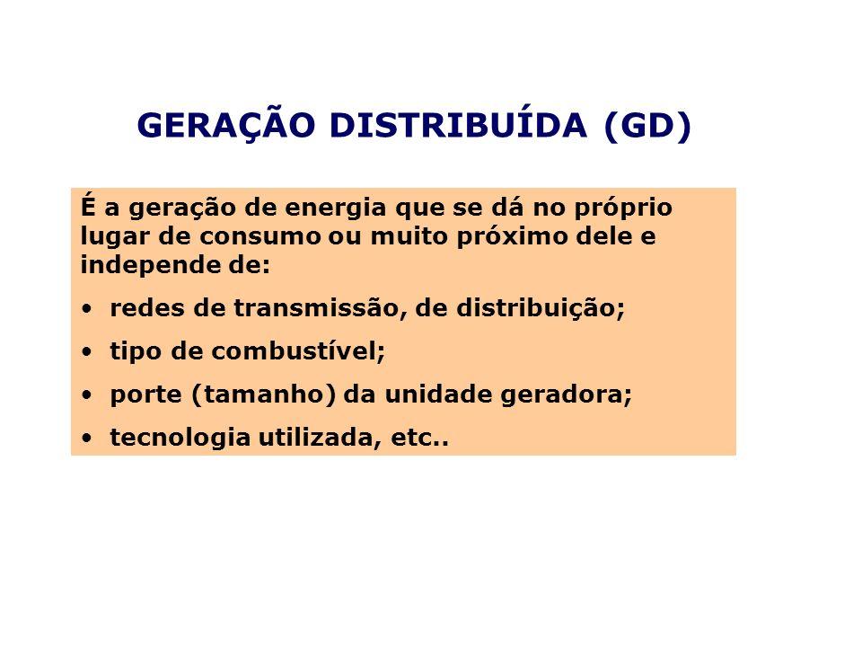 GERAÇÃO DISTRIBUÍDA (GD) É a geração de energia que se dá no próprio lugar de consumo ou muito próximo dele e independe de: redes de transmissão, de d