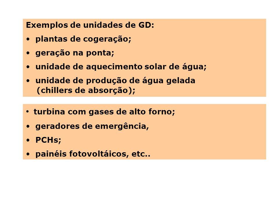 Exemplos de unidades de GD: plantas de cogeração; geração na ponta; unidade de aquecimento solar de água; unidade de produção de água gelada (chillers
