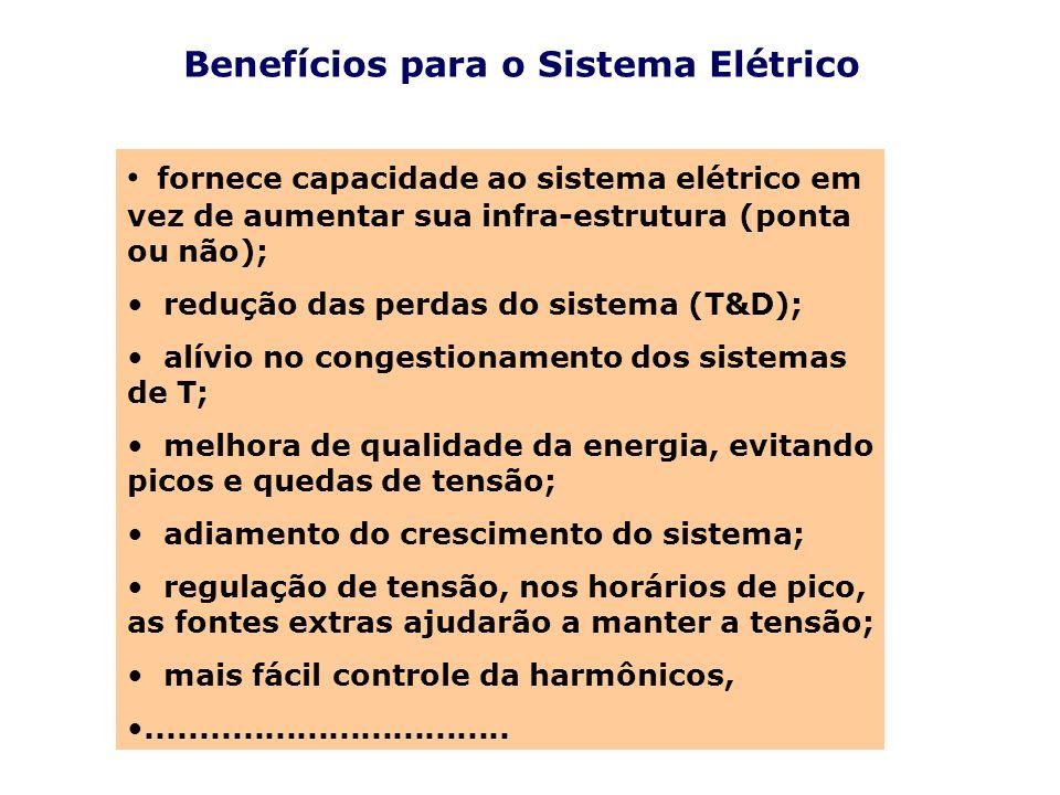 Benefícios para o Sistema Elétrico fornece capacidade ao sistema elétrico em vez de aumentar sua infra-estrutura (ponta ou não); redução das perdas do
